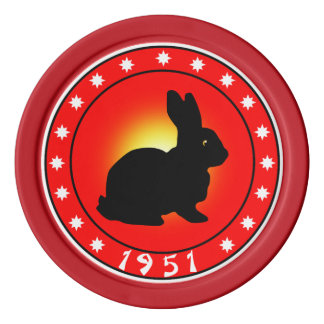 1951 Year of the Rabbit Poker Chips Set