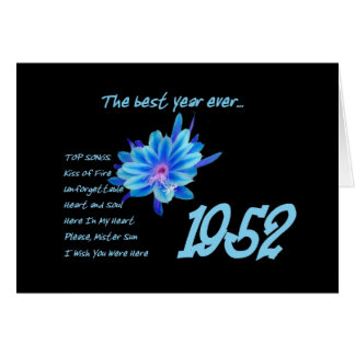 1952 Birthday - The Best Year Ever with Hit Songs Greeting Card