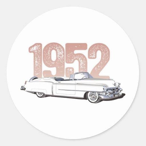 1952 Cadillac Coupe De Ville, white convertible Classic Round Sticker