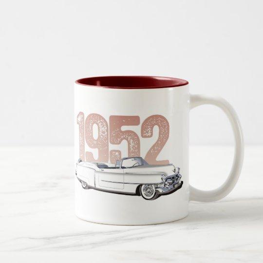 1952 Cadillac Coupe De Ville, white convertible Two-Tone Coffee Mug