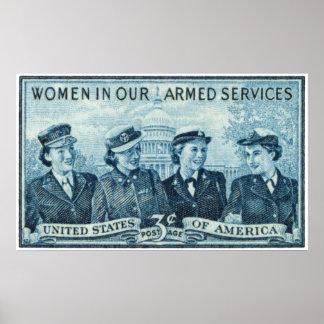1952 mujeres en sello de las fuerzas armadas de lo póster