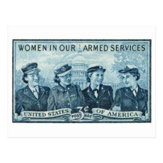1952 mujeres en sello de las fuerzas armadas de tarjetas postales