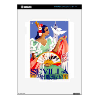 1952 Seville Spain April Fair Poster iPad 3 Decal