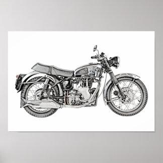 1952 Velocette Venom Motorcycle Illustration Poster