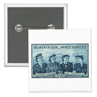 1952 Women in US Armed Services Stamp 2 Inch Square Button