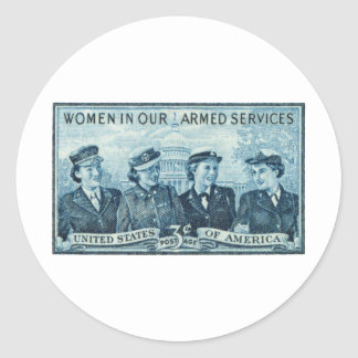 1952 Women in US Armed Services Stamp Classic Round Sticker