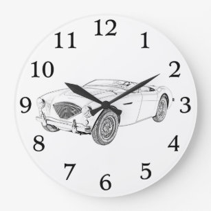 convertible wall clocks zazzle 1965 Corvette Convertible Top 1953 austin healey convertible drawing large clock