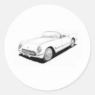 corvette racing stickers zazzle 1954 Buick Skylark Convertible 1953 chevrolet corvette c1 artwork classic round sticker