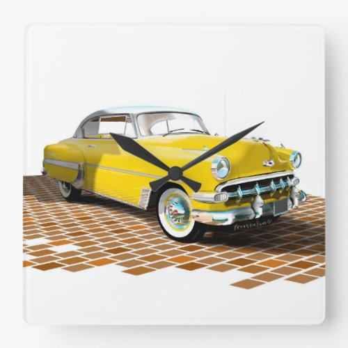 1953 Chevy Square Wall Clock