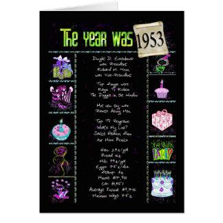 1953 curiosidades de la diversión del año del tarjeta de felicitación