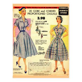 1953 Gimbels Subway Store dress sale Postcard
