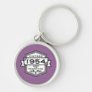 1954 Aged To Perfection Jewelry & Watches Silver-Colored Round Keychain