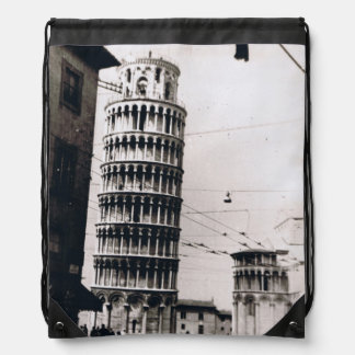 1954 B&W Leaning Tower of Pisa Drawstring Backpack