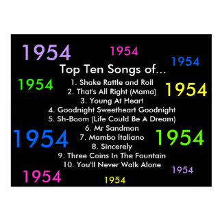 1954 Songs Postcard