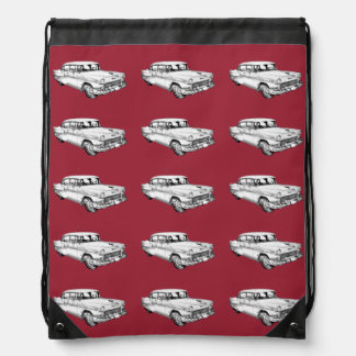 1955 Chevrolet Bel Air Antique Car Illustration Cinch Bags