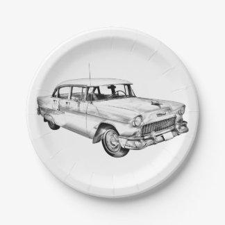 1955 Chevrolet Bel Air Antique Car Illustration 7 Inch Paper Plate