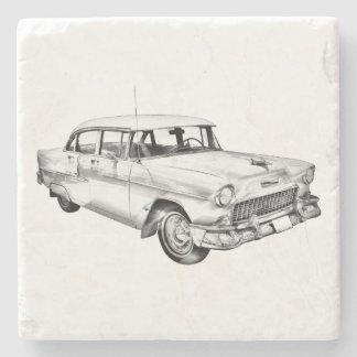 1955 Chevrolet Bel Air Antique Car Illustration Stone Coaster