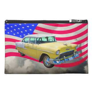 1955 Chevrolet Bel Air With American Flag Travel Accessories Bag