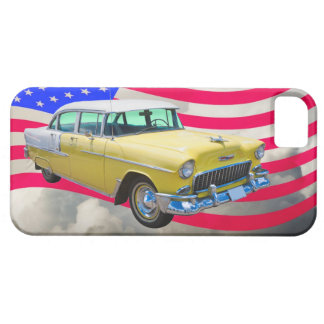 1955 Chevrolet Bel Air With American Flag iPhone 5 Cover