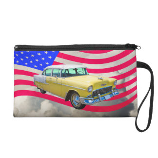 1955 Chevrolet Bel Air With American Flag Wristlet