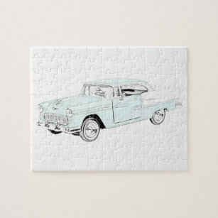 bel jigsaw puzzles zazzle El Caminito Del Ray 1955 chevy bel air blue and white two tone jigsaw puzzle