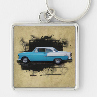 1955 Chevy Bel Air- Classic Cars-Keychain Silver-Colored Square Keychain