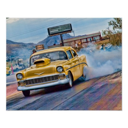 1955 Chevy Bel Air Drag Race Poster Zazzle