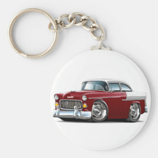 1955 Chevy Belair Maroon-White Car Basic Round Button Keychain