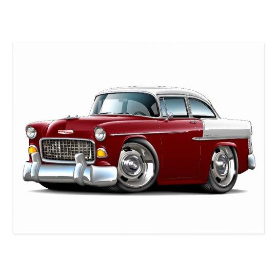 1955 Chevy Belair Maroon-White Car Postcard