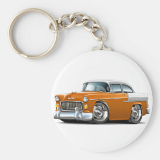 1955 Chevy Belair Orange-White Car Keychain