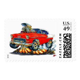 1955 Chevy Belair Red Car Postage Stamp