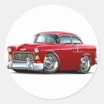 1955 Chevy Belair Red Car Round Sticker