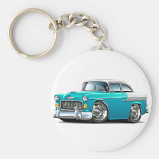 1955 Chevy Belair Turquoise-White Car Keychain
