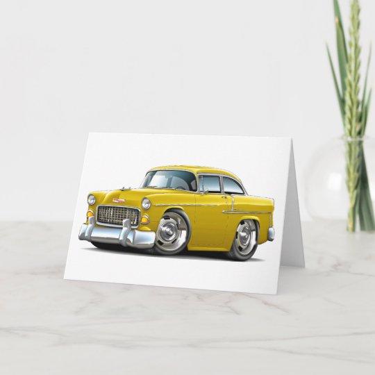 1955 Chevy Belair Yellow Car Card Zazzle