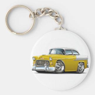 1955 Chevy Belair Yellow-White Car Keychain