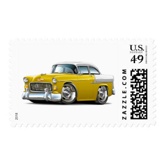 1955 Chevy Belair Yellow-White Car Postage Stamp