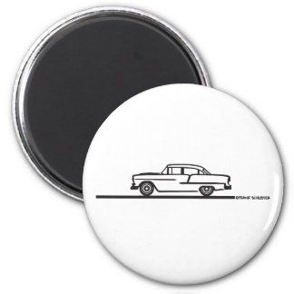 1955 Chevy Four Door 2 Inch Round Magnet