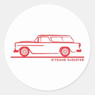 1955 Chevy Nomad Bel Air Classic Round Sticker