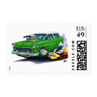 1955 Chevy Nomad Green Car Postage Stamp