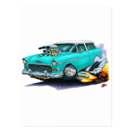 1955 Chevy Nomad Turquoise Car Postcard