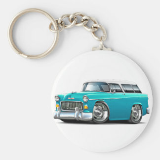 1955 Chevy Nomad Turquoise-White Car Basic Round Button Keychain