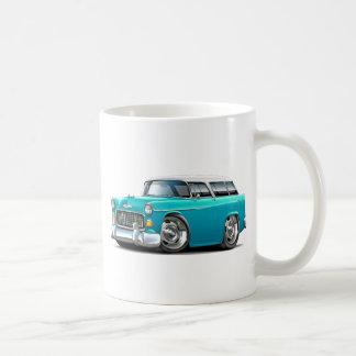 1955 Chevy Nomad Turquoise-White Car Classic White Coffee Mug