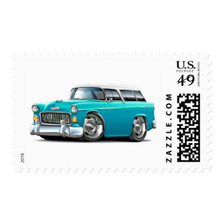 1955 Chevy Nomad Turquoise-White Car Stamp