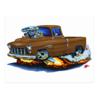 1955 Chevy Pickup Brown Truck Postcard