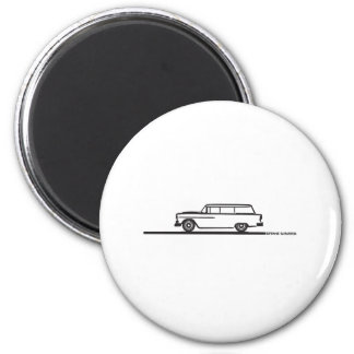 1955 Chevy Station Wagon 2 Inch Round Magnet