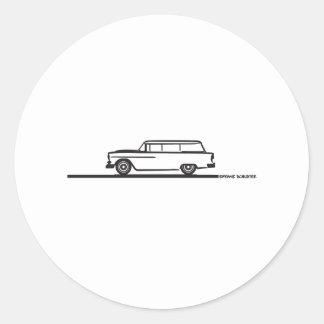 1955 Chevy Station Wagon Classic Round Sticker