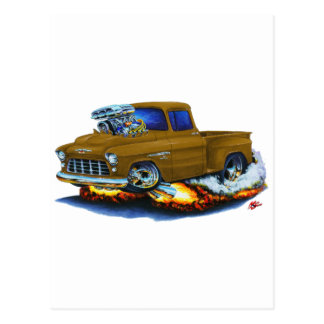 1955 Chevy Stepside Pickup Brown Truck Postcard