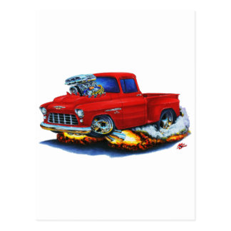 1955 Chevy Stepside Pickup Red Truck Postcard