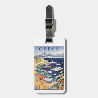 1955 Greece Athens Bay of Castella Travel Poster Luggage Tag