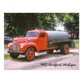 1955 Hartford Michigan Antique Red Fire Truck Postcard